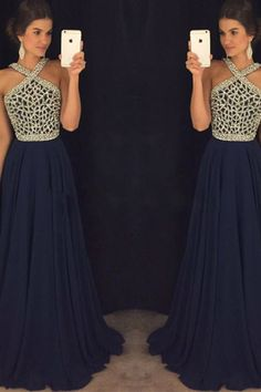 Dark blue chiffon halter sequins open back full-length evening dresses, formal dresses #promdress #promdresses #prom #dress