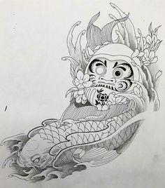 Japanese Tattoo Designs, Japanese Tattoo Art, Japanese Art, Daruma Doll Tattoo, Koi Tattoo Design, Dragon Fish, Koi Art, Koi Fish Tattoo, Geometry Tattoo