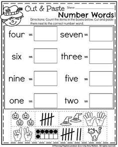 October Kindergarten Worksheets - Cut and Paste Number Words Counting.