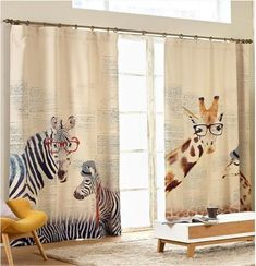 Cotton Curtain (Animal Cartoon)