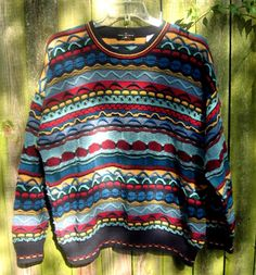 vtg 80s Mens Coogi Cosby Style Textured Sweater XL by TymeAfterTyme, $28.00 SOLD