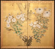 Japanese Screen: Rimpa-like Chrysanthemums on Gold Silk