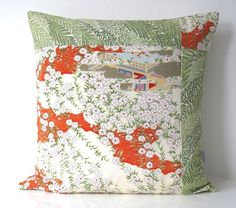 Cushion white floral & pale woven stripe made from Vintage Japanese Kimono Silk £45.00