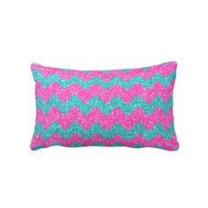 Pink Turquoise  Girly ZigZag Glitter Photo Print Pillow