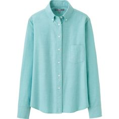UNIQLO Oxford Long Sleeve Shirt (420.085 IDR) ❤ liked on Polyvore featuring tops, shirts, blue, uniqlo, blue oxford and uniqlo oxford