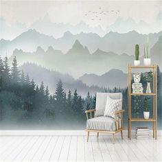 Custom Wallpaper Mural Watercolor Mountain Forest (㎡)