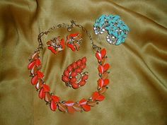 Vintage Thermoset Moonglow Plastic Jewelry Lot Signed Lisner Demi- Parure Star Brooch Choker Earring