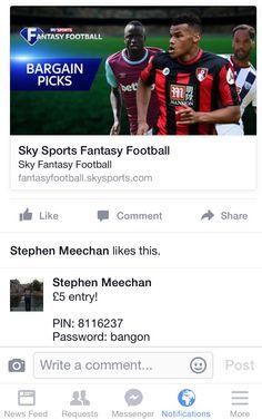 Sky fantasy football there's money to be won!!! #skysports #football #sky #fantasyfootball #dreamteam #join #money #soccer #premierleague #afc #avfc #cfc #mufc #mcfc #whufc #nufc #cpfc #efc #scfc #lfc #thfc #ncfc #saintsfc