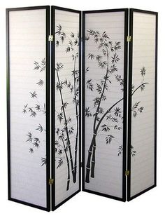 Decorative room divider for a serene room setting, Ore International Ore 4-Panel Room Divider - Black/White