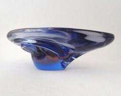 Skrdlovice Rudolf Beranek 5469 -- art glass platter -- Czech art glass