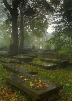 Graveyard Haworth with the Bronte Parsonage in the backround...Yorkshire by PrestonWalesUK, via Flickr