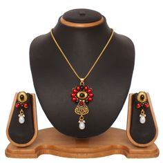 USD 15.76 Maroon Zinc Kundans Necklace With Earrings 43974