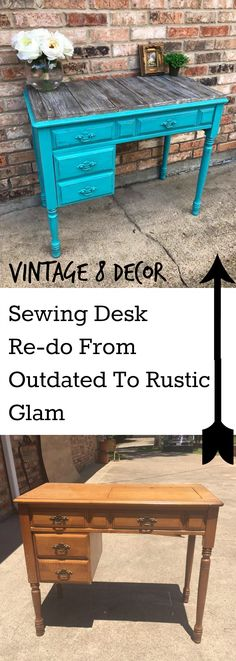 Paint an outdated sewing desk, add weathered, rustic reclaimed wood to make a rustic glam piece using Rethunk Junk products.