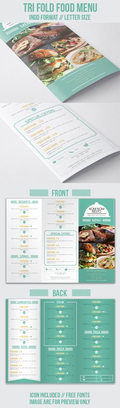 A tri fold food menu suitable for your restaurant or cafe purposes. Find it on http://graphicriver.net/item/tri-fold-food-menu/7518615 for more details. :)