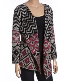 Another great find on #zulily! Fuchsia Geo Shawl Collar Open Cardigan - Plus…