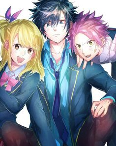 Gray lucy and natsu Fairy Tail Anime, Fairy Tail Meredy, Fairy Tail Loki, Fairy Tail Gray, Fairy Tail Guild, Fairy Tail Ships, Fairy Tail Comics, Gruvia, Fairytail