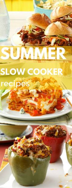 Summer Slow Cooker Recipes from Taste of Home including: BBQ Chicken Sliders, Smoky Baked Beans, Lip Smackin' Ribs, Mexican Beef-Stuffed Peppers and more!