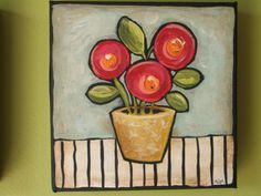 Funky Flowersset of two by Polkadotdoorstudio on Etsy