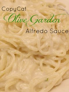 CopyCat Olive Garden Alfredo Sauce recipe - I changed it up a bit & used 2% milk, 6-8 oz cream cheese... But I think all the rest is the same.
