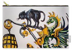 Shop Sign Carry-all Pouch featuring the painting Caru Cu Bere - Antique Shop Sign by Dora Hathazi Mendes #artforsale #artoftheday #printsforsale #dorahathazi #carucubere #bucharest #romania #wroughtiron #shopsign #cat #dragon #carryallpouch #pouch