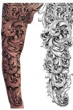 scroll tattoo sleeve - Go - scroll tattoo sleeve – Go s. - scroll tattoo sleeve – Go – scroll tattoo sleeve – Go scroll # # - Skull Sleeve Tattoos, Best Sleeve Tattoos, Leg Tattoos, Body Art Tattoos, Tattoos For Guys, Tatto Sleeve, Realistic Tattoo Sleeve, Stomach Tattoos, Bird Tattoos