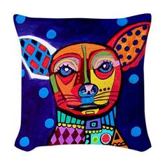 Chihuahua Art Pillow - Dog  -  Modern Abstract Art by Heather Galler