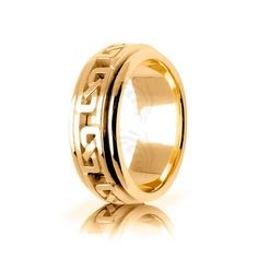 10k Yellow Gold Celtic Infinity Knot Wedding Band Polish 7mm 01690