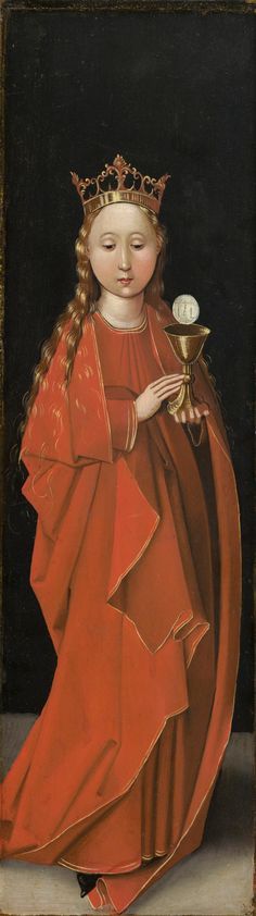 Master of the Starck Triptych - Saint Barbara. 1480 - 1490 Vintage Wall Art, Vintage Walls, Saint Barbara, Medieval Paintings, National Gallery Of Art, Sea Art, Oil Painting Reproductions, Triptych, Saints