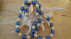 Blue Beige Glass Pearl Necklace Bracelet & Earring Sets, Blue Beige Jewelry Sets, Beaded Necklace Bracelet and Earring Sets, by lanesamarie by lanesamarie on Etsy
