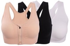 9cd3a53615b4b HENNY RUE Women s Front Zipper Closure Sports Bra Padded Workout Yoga Bras.  Seamless