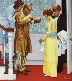 First Date Home Late by Norman Rockwell. First Date Home Late by Norman Rockwell. Norman Rockwell Prints, Norman Rockwell Paintings, Canvas Artwork, Canvas Prints, Vintage Illustration, Retro, Arte Country, Arte Pop, American Artists