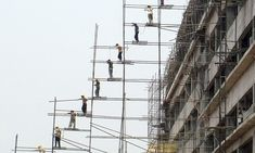 So much for elf 'n' safety: Scaffolding that looks like a stairway to heaven (if the builders aren't careful)
