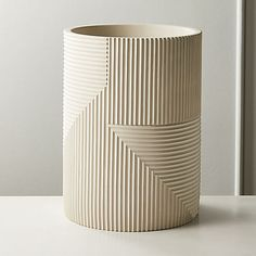 Vertical and horizontal lines cement a graphic design in this light grey decorative wastecan. -Cement -Clean with a soft cloth -Made in China Modern Bathroom Accessories, Bath Accessories, Metal Baskets, Storage Baskets, Ceramic Pottery, Ceramic Art, Slab Pottery, Thrown Pottery, Pottery Vase