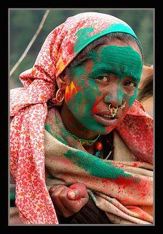 Holi Festival, Sangla, Kinnaur Valley in Himachal Pradesh, India...