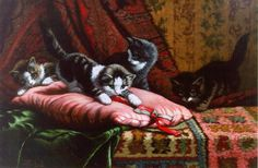 Cornelis Raaphorst (Nieuwkoop 1875-1954 Wassenaar) Four kittens playing - Dutch Art Gallery Simonis and Buunk Ede, Netherlands.
