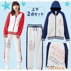 Hello Kitty Sporty Parka Bottom Suit Hoodie Jersey Sweat Set Sanrio From Japan