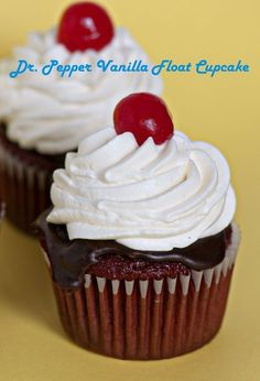 Dr Pepper Vanilla Float Cupcakes