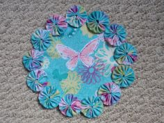 Watercolor Style Butterfly and Flowers on Aqua Yo Yo by SursyShop, $8.00