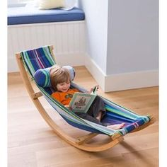 There's nothing quite like kicking back in a hammock-and now, little ones can delight in that comfort in any space! The incredible rocking hammock is compact and lightweight enough to easily fit and move anywhere your child can imagine-indoors or out. The sturdy, curved frame allows kids to gently rock as they hang out in the colorful cotton hammock. It's a great place for relaxed play and the cozy pillow makes it a perfect nap space, too.
