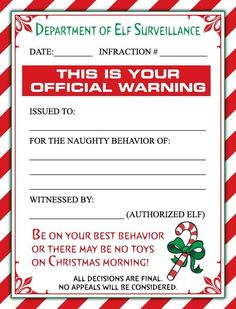 naughty list warning notice from santa free printable free
