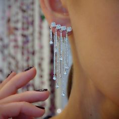 """""""Fringe Element"""" Diamond 18K White Gold Front & Back Drop Earrings - Plukka - Shop Fine Jewelry Online"""