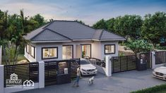 One Storey Duplex House Plan with 2 Bedrooms - House And Decors Modern Bungalow House Design, Small House Design, Three Bedroom House Plan, Family House Plans, Duplex House Plans, Bungalow House Plans, Gate Wall Design, Small Cottage Designs, Affordable House Plans