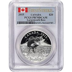 2015 CANADA LARGEMOUTH BASS SILVER 1 OZ PR70DCAM FS PCGS via https://www.bittopper.com/item/2015-canada-largemouth-bass-silver-1-oz-pr70dcam-fs-pcgs/