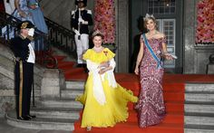 Queen Sonja of Norway, left, and Queen Maxima of The Netherlands @ The Swedish Royal Wedding 13/6/2015