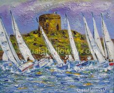 """White Sails Around Dalkey Island"" by Nuala Holloway - Oil on Canvas Irish Art, Seaside, Oil On Canvas, Sailing, Island, Block Island, Beach, Painted Canvas, Islands"