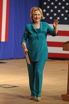 Hillary Clinton's been admired for her colorful pantsuits since she stepped into the public eye during her husband Bill Clinton's presidency. But this year, Ms. Clinton launched her own campaign, we noticed something special about her fashion choices: though she still opts for separates that are vibrant & eye-catching, the fit of her clothing is relaxed, sometimes slouchy, & forgiving. In short, her outfits look comfortable, a very important aspect of power dressing. Image:  Uri Schanker