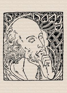 Balding Bearded Old Man Illustration - Vintage Clip Art – Digital Scrapbooking Stamp - Printable Transfer Graphic – instant download - CU OK