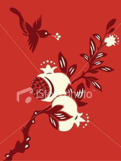 Pomegranate Bird Delight Royalty Free Stock Vector Art Illustration
