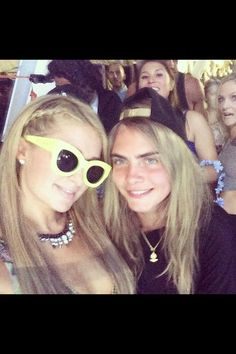 Paris Hilton and Cara Delevingne at Ultra 2014.