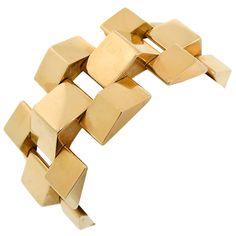 """... but I ADORE these """"tank"""" bracelets !!!! - 1940's Gold Bracelet"""